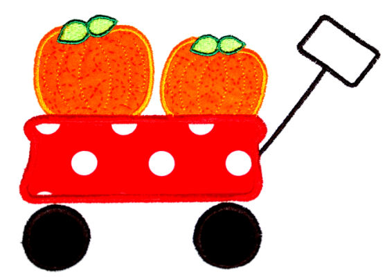 Wagon with Pumpkins Applique Design