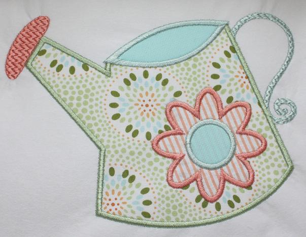 Watering Can Applique Design-spring, flowers, watering can