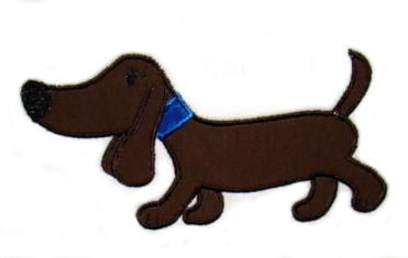 Boy Weiner Dog Applique Design