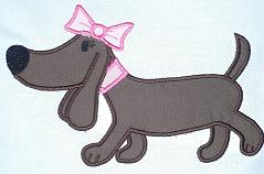Girl Weiner Dog  Applique Design-dog, weiner , girl