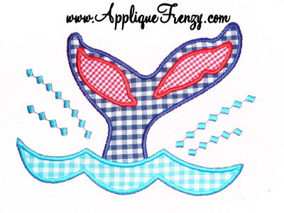 Whale Tail Applique Design-