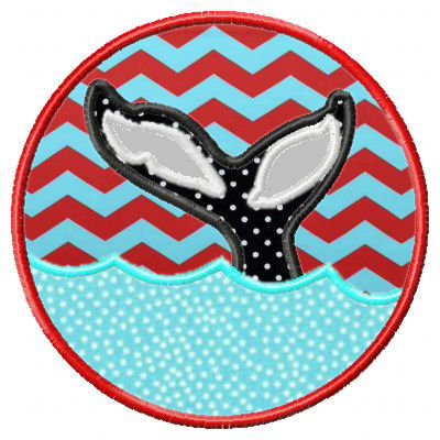 Whale Tail Circle Patch Applique Design-