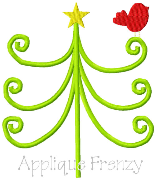 Whimsical swirly Tree Embroidery Design