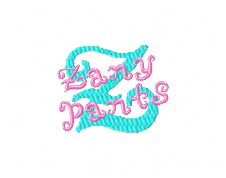 Zany Pants Embroidery Font-font, sunny font, sunny